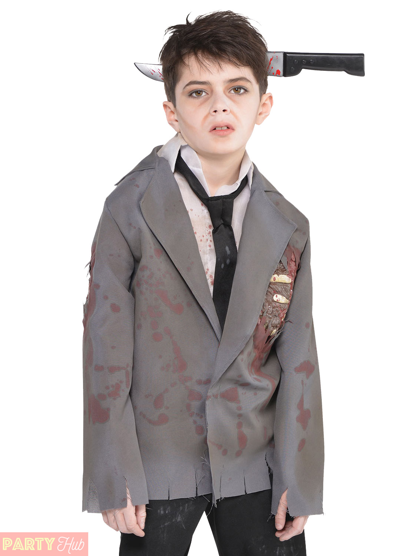 Boys Zombie Costume Groom Schoolboy Jacket Shirt Halloween