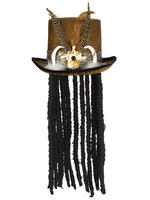 Adult's Witch Doctor Hat with Dreadlocks