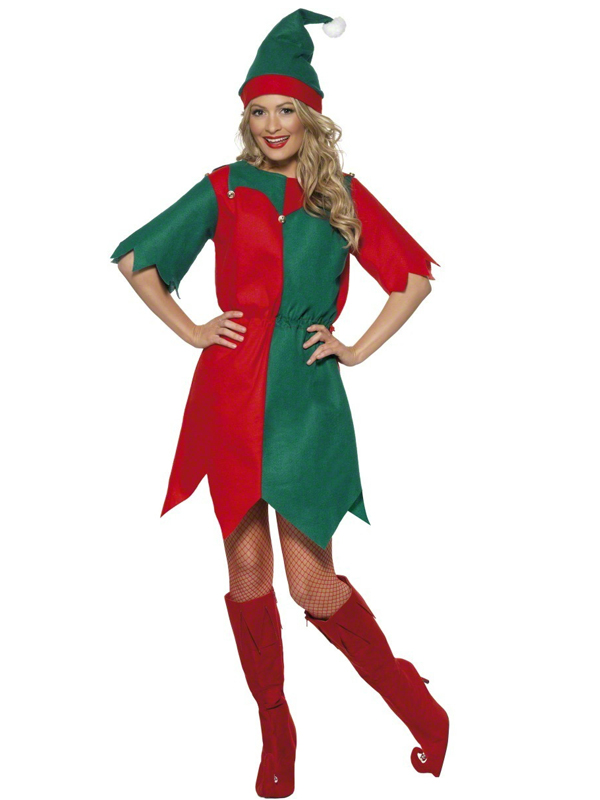 Ladies Red & Green Elf Costume