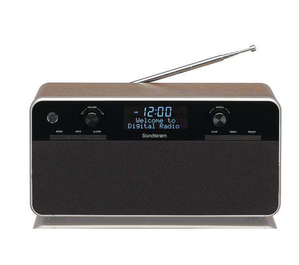 sandstrom sdabxrw13 portable dab clock radio black wood unsealed. Black Bedroom Furniture Sets. Home Design Ideas