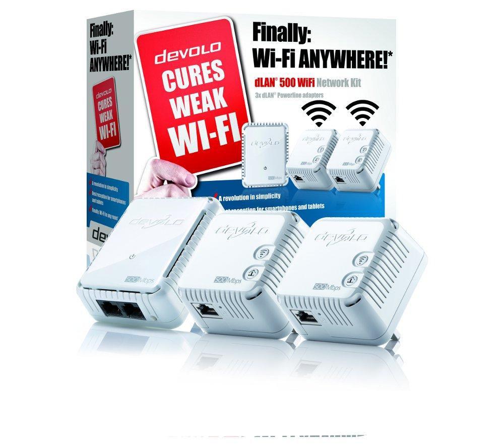 devolo dlan 500 wireless powerline adapter kit triple pack white ebay. Black Bedroom Furniture Sets. Home Design Ideas