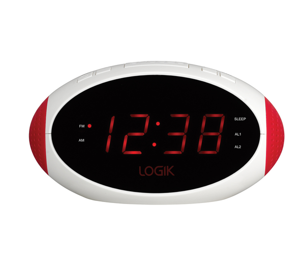 logik lcrr13 clock radio white red unsealed box damage ebay. Black Bedroom Furniture Sets. Home Design Ideas