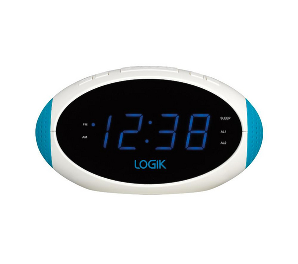 logik lcrn13 analogue clock radio white blue unsealed box damage ebay. Black Bedroom Furniture Sets. Home Design Ideas