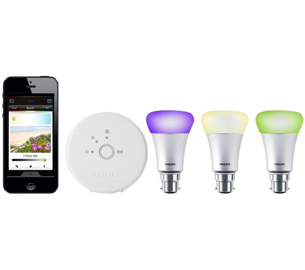 philips hue wireless led bulbs starter kit b22 16 million. Black Bedroom Furniture Sets. Home Design Ideas