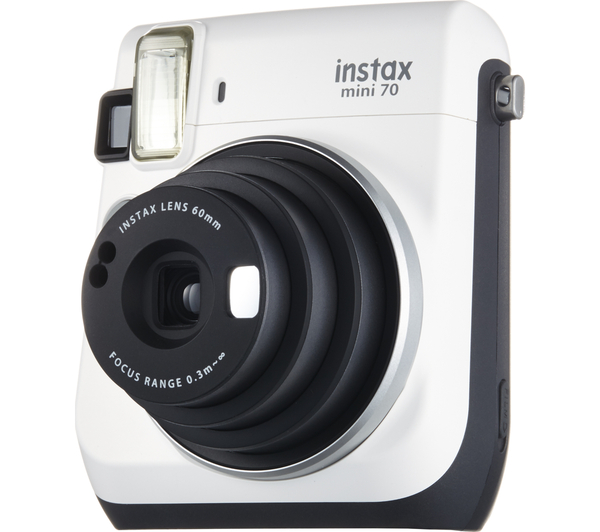 fujifilm instax mini 70 white instant camera built in. Black Bedroom Furniture Sets. Home Design Ideas