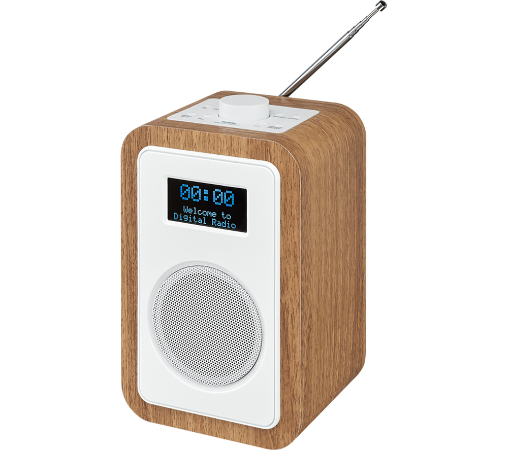 jvc ra d51 dab fm clock radio lcd display alarm snooze wood white. Black Bedroom Furniture Sets. Home Design Ideas