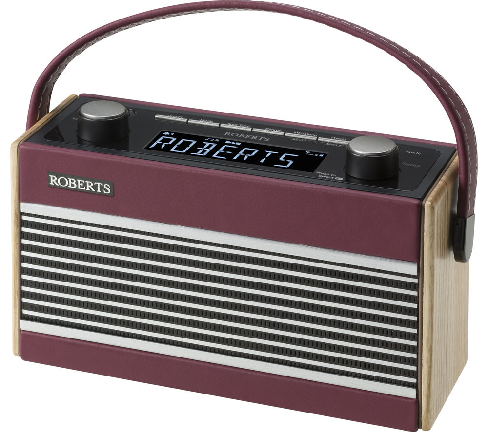 roberts rambler portable dab fm clock radio burgundy ebay. Black Bedroom Furniture Sets. Home Design Ideas