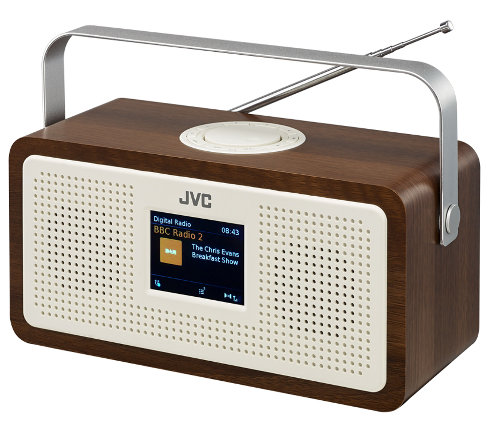 jvc ra ds77 portable dab fm clock radio wood cream up to. Black Bedroom Furniture Sets. Home Design Ideas