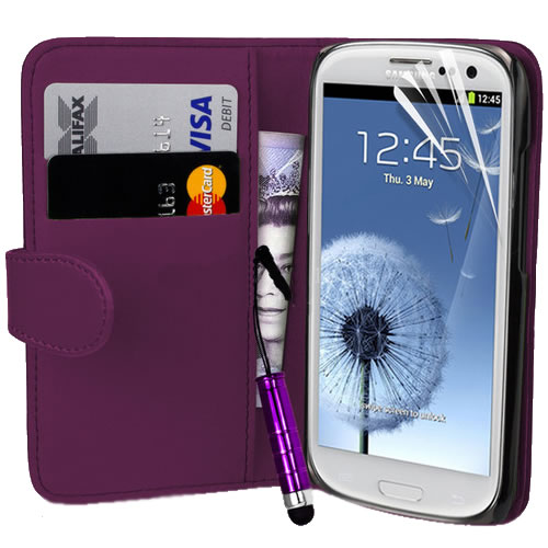 Executive Leather Magnetic Wallet Flip Case Cover For Samsung i9300 Galaxy S3