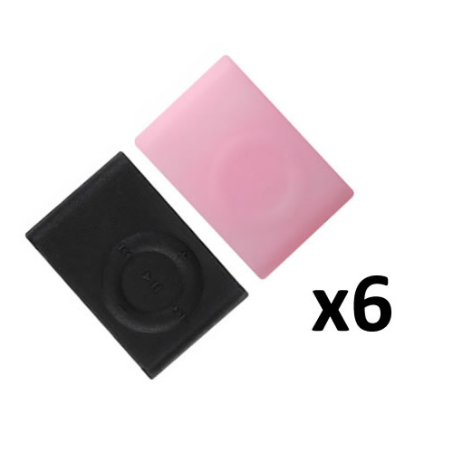 6x New iPod Shuffle 2nd Generation Silicone Skin Case in Black Pink White Enlarged Preview