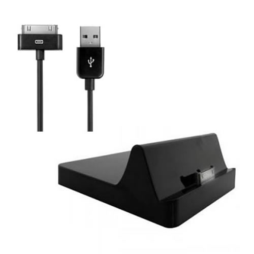 docking station charger 1m usb cable for apple ipad ipad 2 black ebay. Black Bedroom Furniture Sets. Home Design Ideas