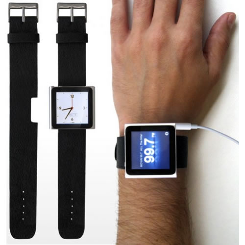 Watch Strap Wristband for 6th Gen/Generation Nano - Black Enlarged Preview