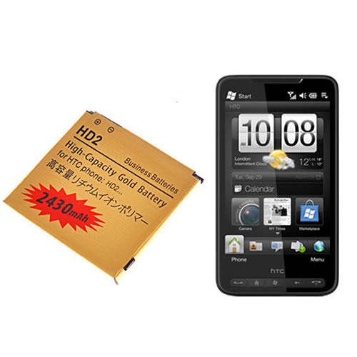High Capacity Gold 2430MAH Replacement Business Battery For HTC HD2 Enlarged Preview