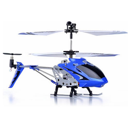 X107 3Ch Aluminium Rc Gyro Micro / Mini Remote Control Helicopter in Blue Enlarged Preview