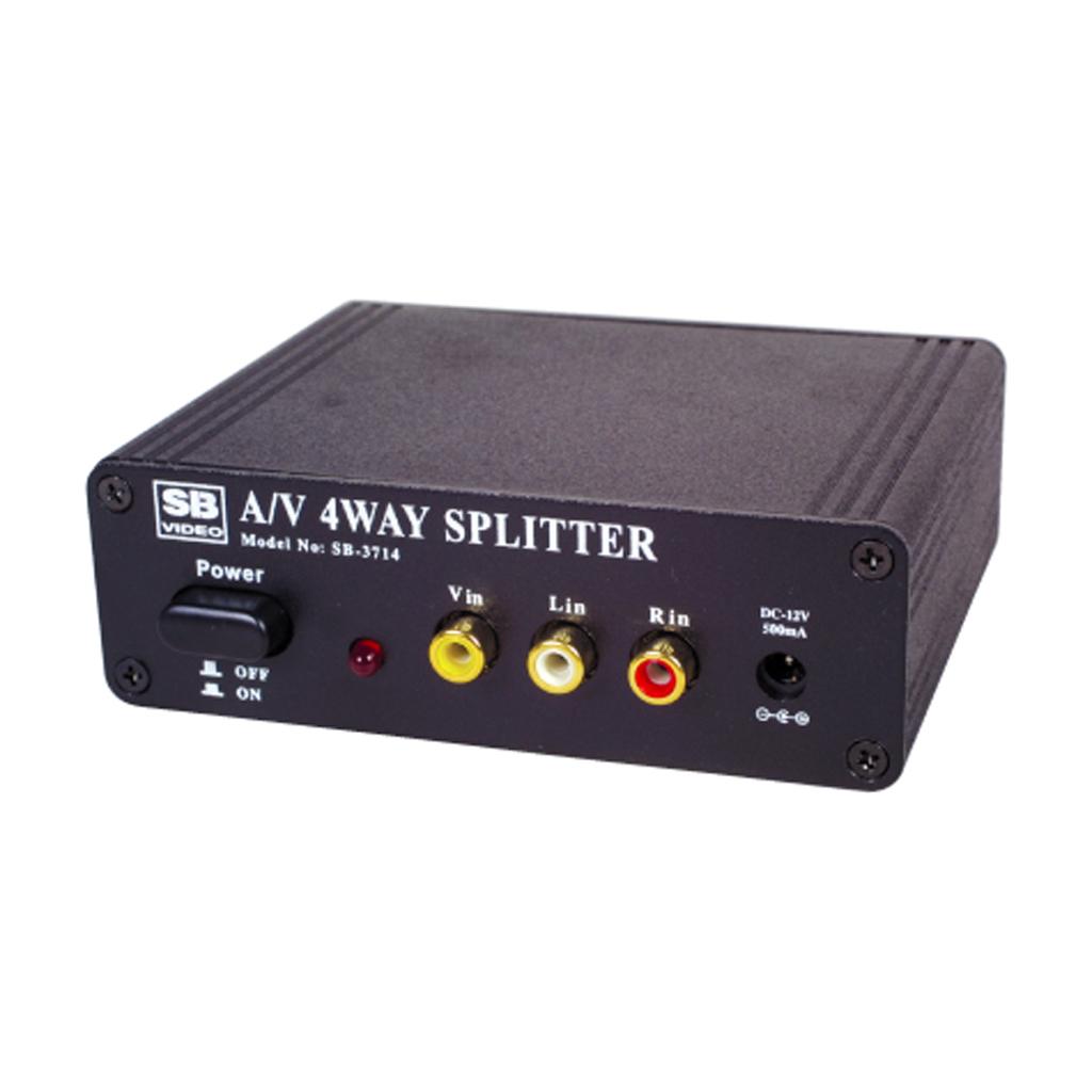 4 Way Stereo Audio Composite Video AV RCA Splitter