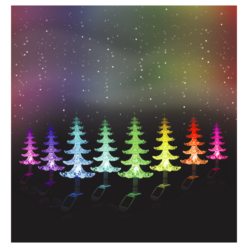 solar powered colour changing christmas tree with lights xmas 48cm. Black Bedroom Furniture Sets. Home Design Ideas