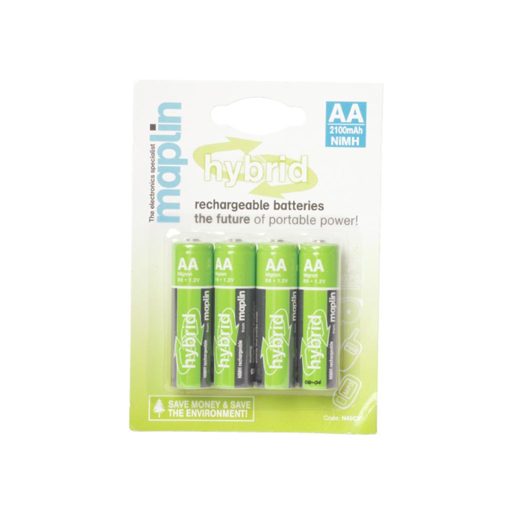 maplin hybrid rechargeable 2100mah aa batteries nimh 4 pack ebay. Black Bedroom Furniture Sets. Home Design Ideas