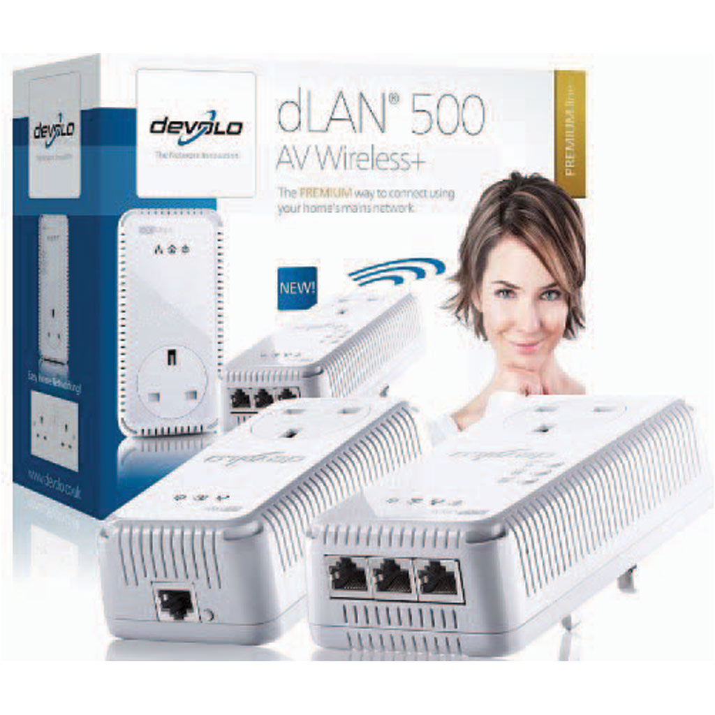 devolo dlan 500mbps av wireless powerline pt dual band wireless extender kit ebay. Black Bedroom Furniture Sets. Home Design Ideas