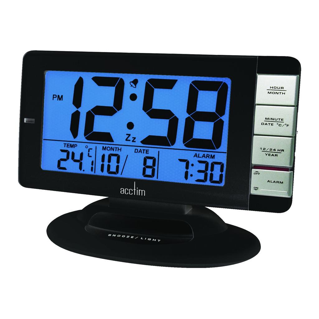 acctim matrix smartlite digital illuminated lcd display temperature alarm clock ebay. Black Bedroom Furniture Sets. Home Design Ideas