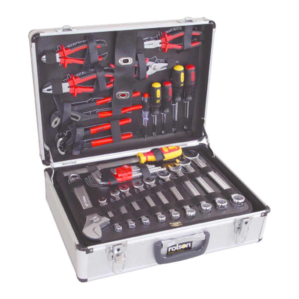 rolson 127 piece tool kit set aluminium storage case ebay. Black Bedroom Furniture Sets. Home Design Ideas