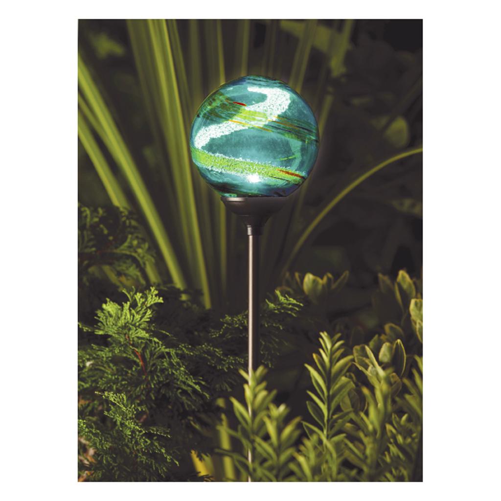 MURANO SOLAR POWERED LED LAMP HAND BLOWN GLASS GLOBE