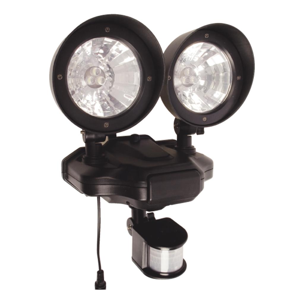 TWIN HEAD OUTDOOR GARDEN SOLAR POWERED LED PIR LIGHT EBay
