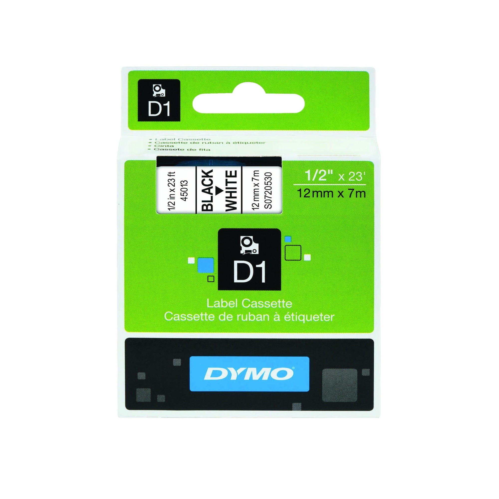 DYMO D1 Tape 12mm X 7m Black On White Labels Removable