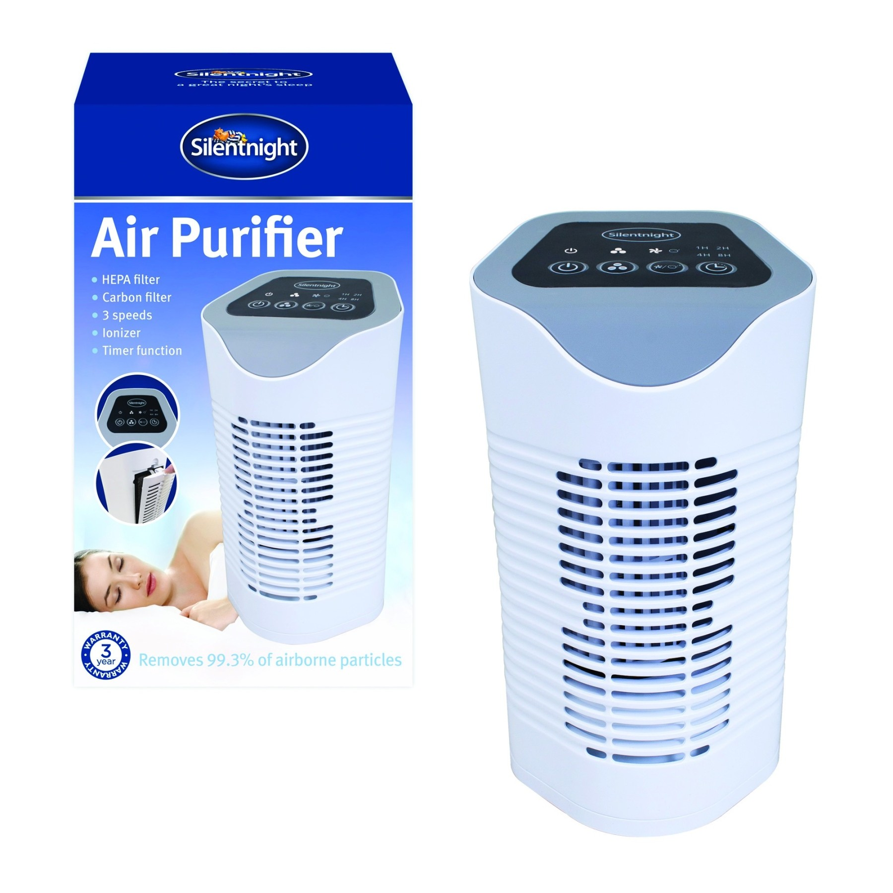 Carbon Air Cleaner : Silentnight hepa triple filtered air purifier carbon