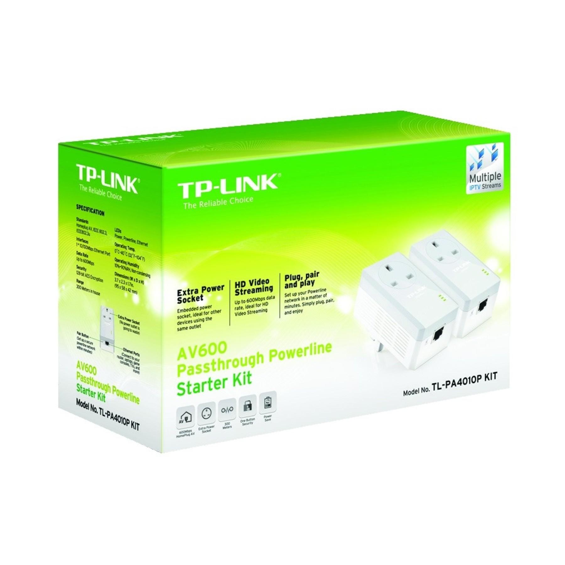 tp link 4010pkit av600 passthrough powerline starter kit 600mbps transfer rate ebay. Black Bedroom Furniture Sets. Home Design Ideas