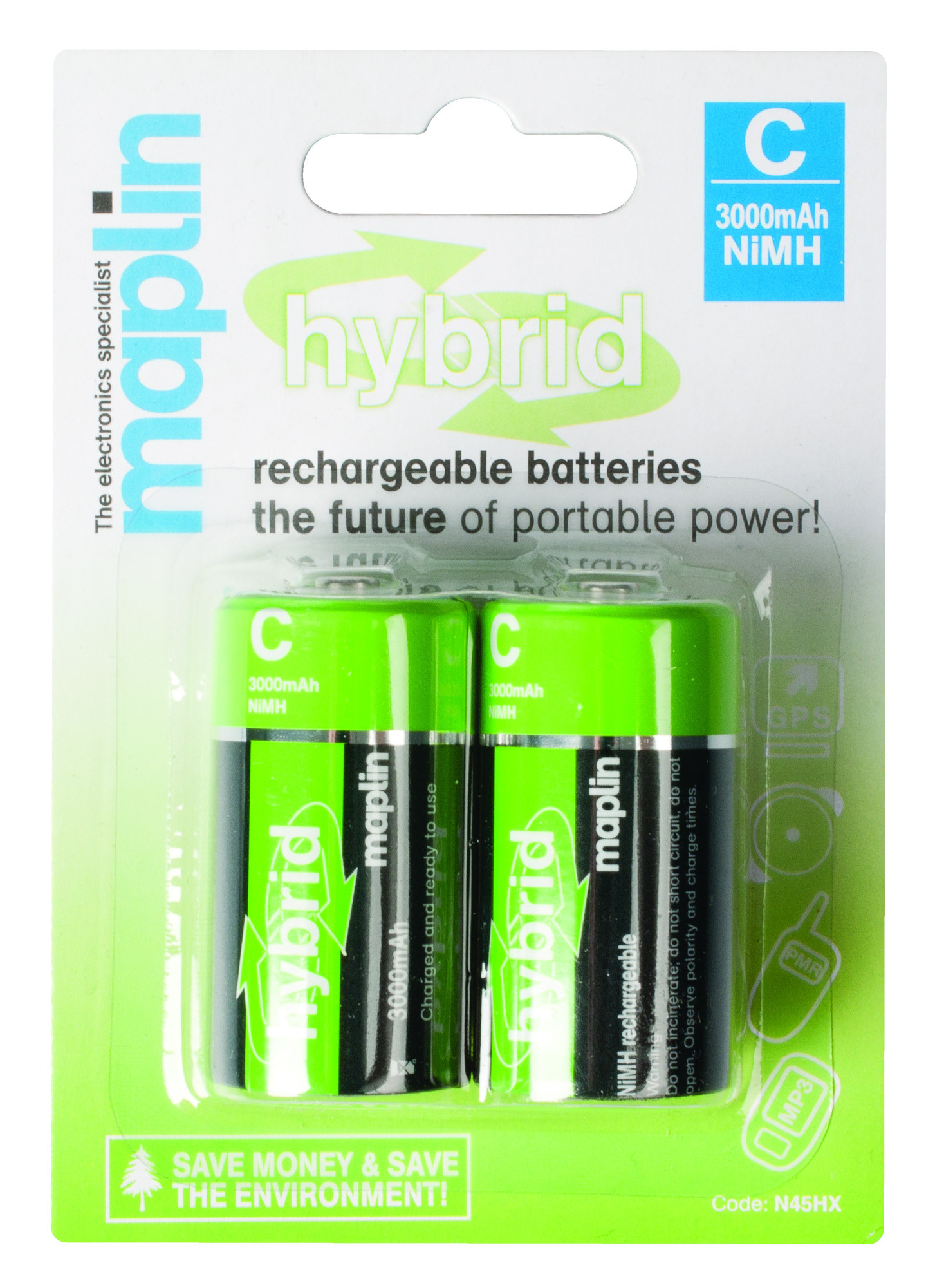 maplin hybrid rechargeable c battery 3000mah 2 pack ebay. Black Bedroom Furniture Sets. Home Design Ideas