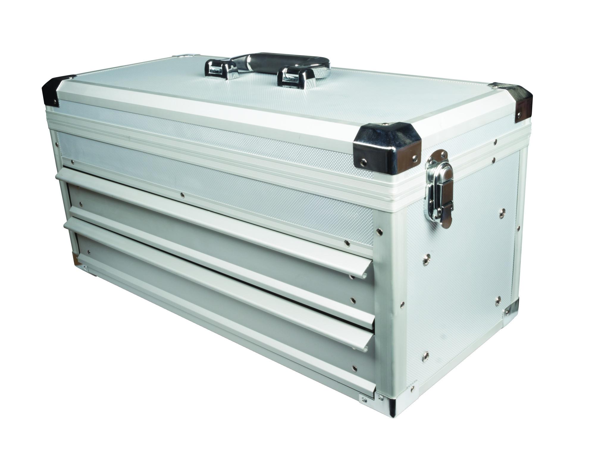 maplin aluminium tool box 2 sliding drawers case storage toolbox tools lockable ebay. Black Bedroom Furniture Sets. Home Design Ideas