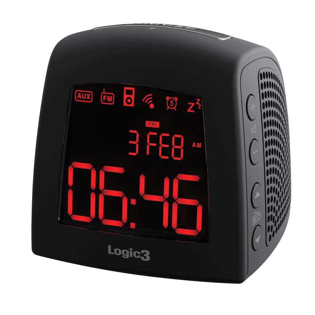 logic3 istation timecurve alarm clock radio for iphone ipod fm lcd display. Black Bedroom Furniture Sets. Home Design Ideas