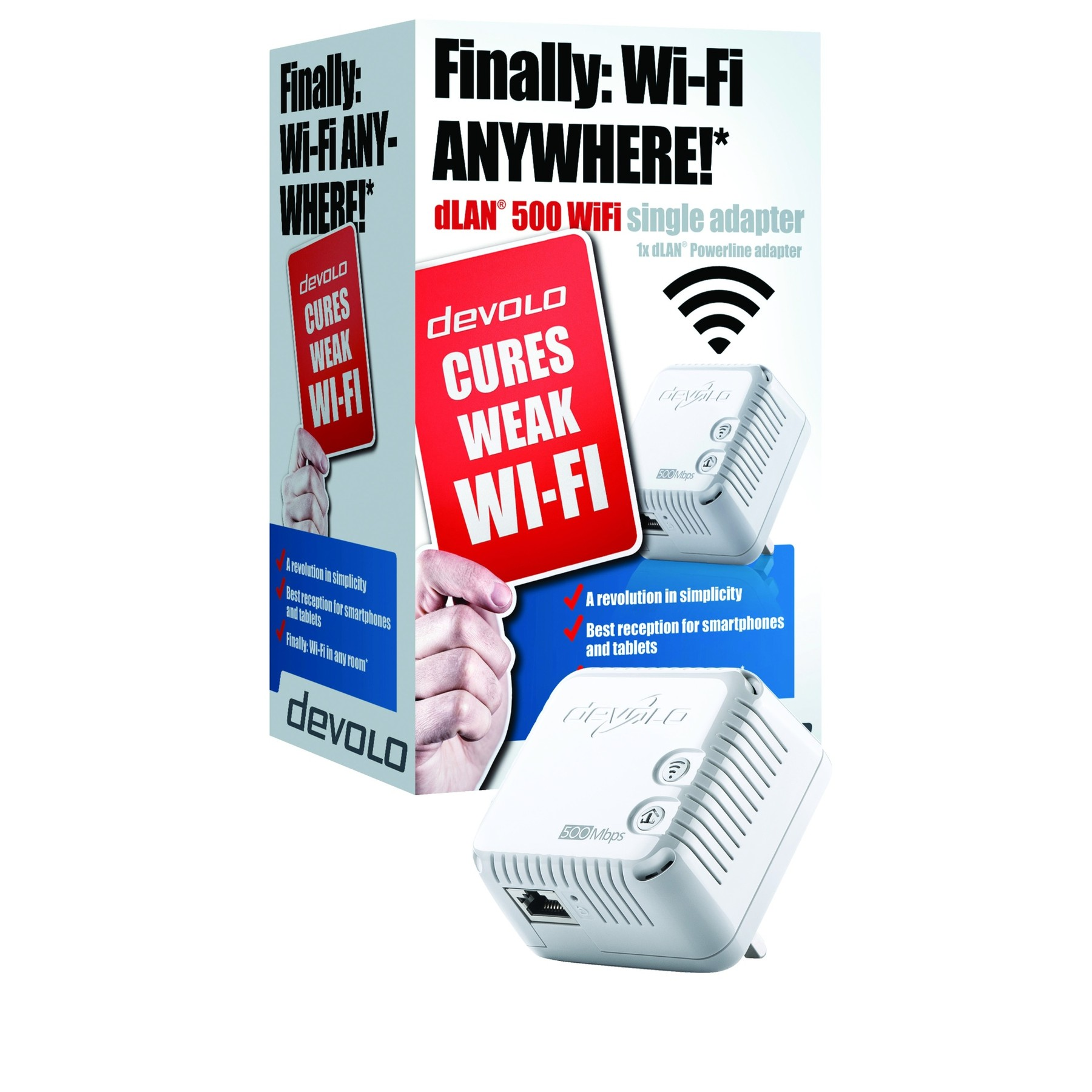 devolo dlan 500 wifi single 500mbps powerline adapter. Black Bedroom Furniture Sets. Home Design Ideas