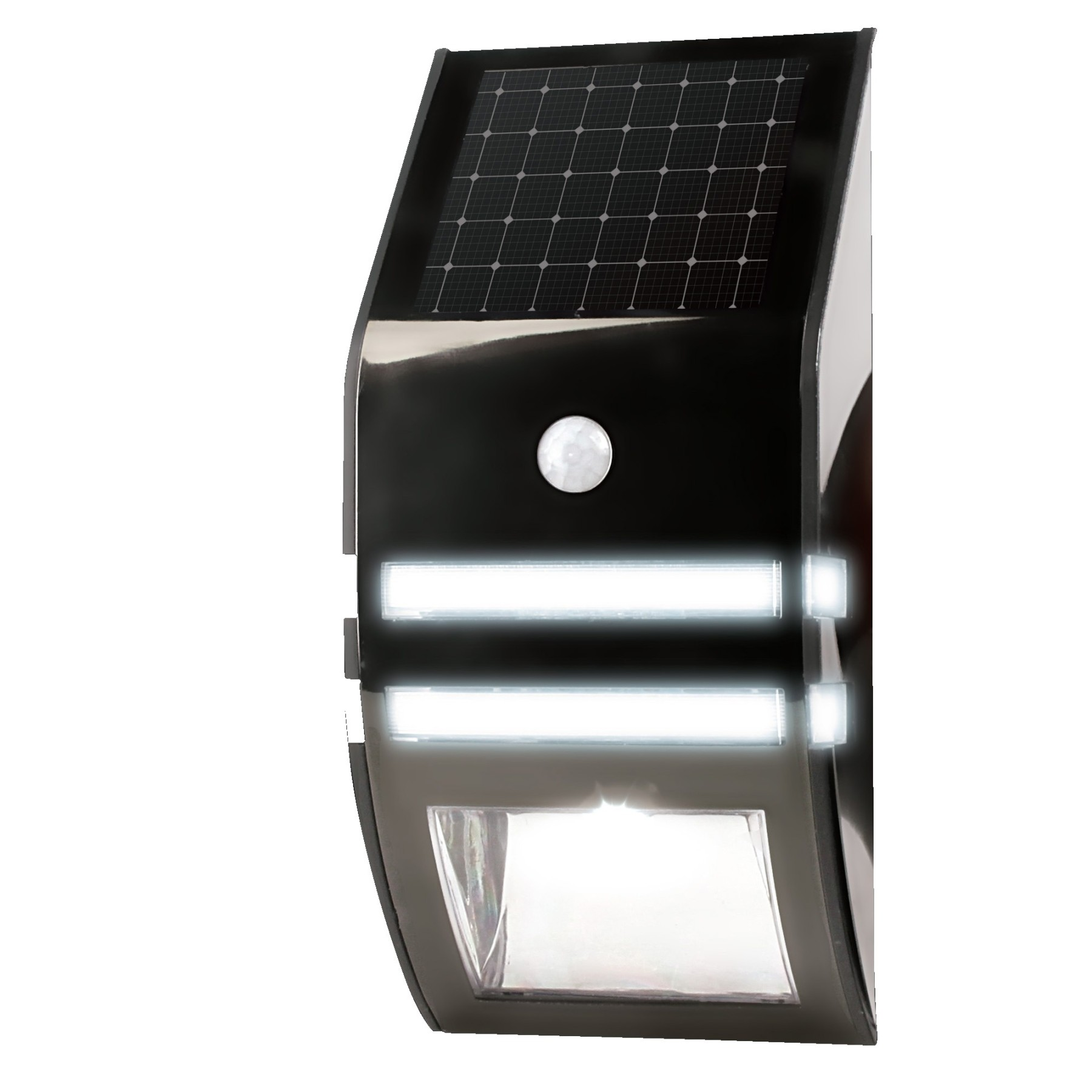 solar motion sensor light garden outdoor walls easy installation black