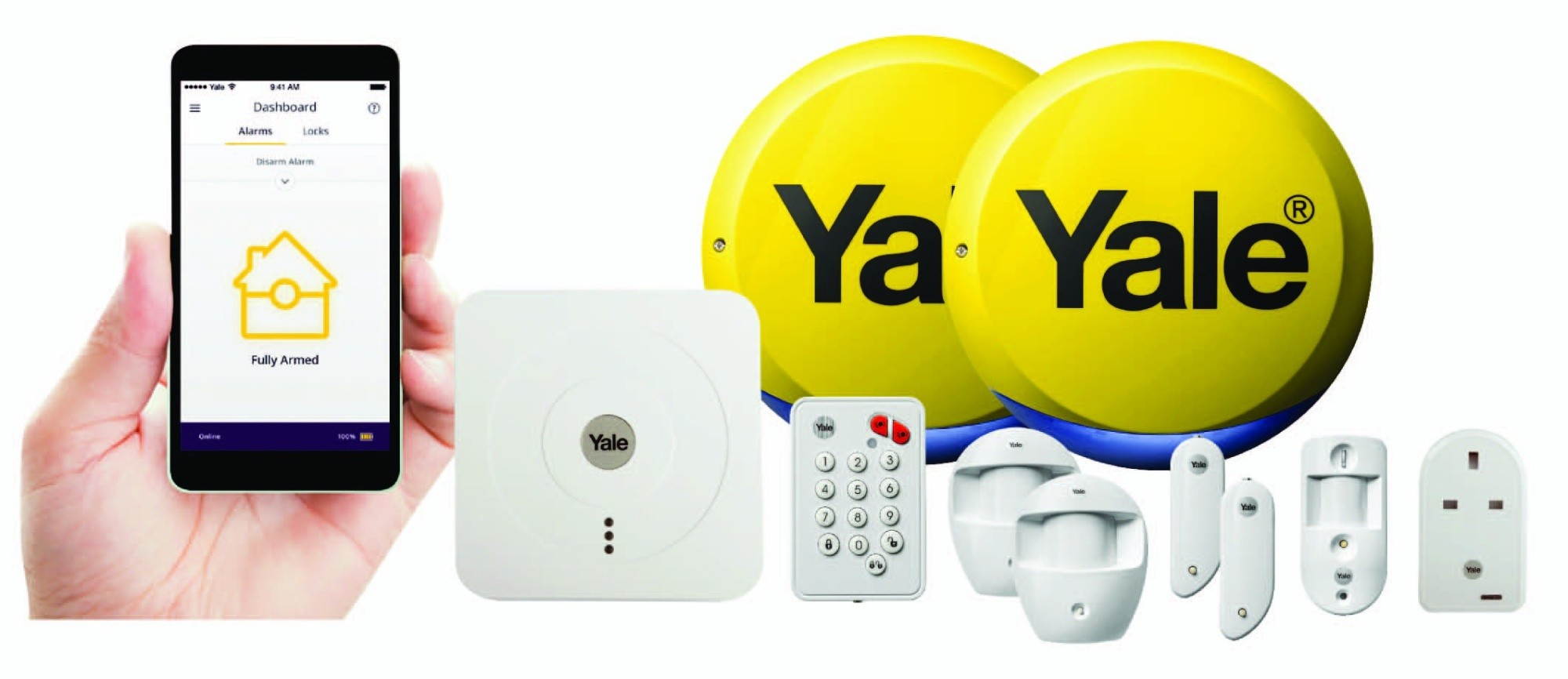 yale wireless smart home security alarm view and control. Black Bedroom Furniture Sets. Home Design Ideas