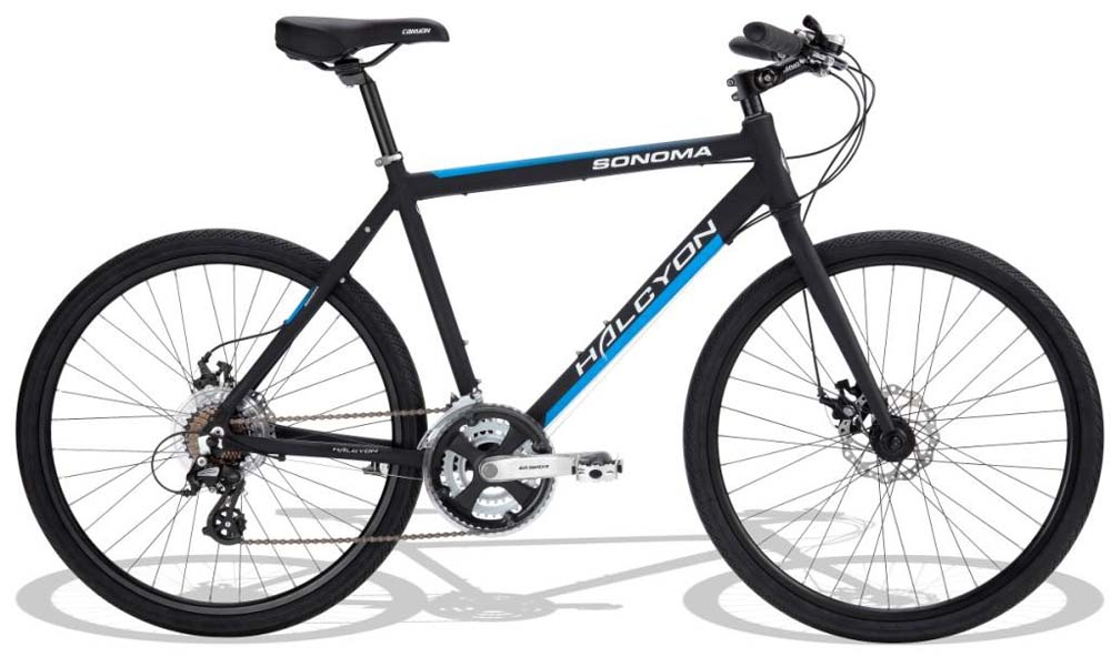 HALCYON SONOMA GENTS CITY HYBRID BIKE BLACK WITH DUAL DISC & 21 SPEED  Enlarged Preview