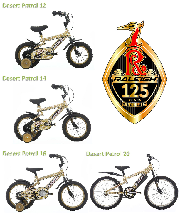 RALEIGH DESERT PATROL LITTLE BOYS BIKE 4 SIZES FOR AGES 2-8 YEARS Enlarged Preview
