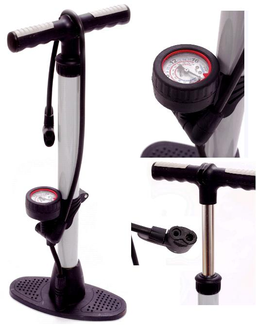 DUAL HEAD TRACK PUMP WITH GAUGE BIKE BICYCLE FLOOR PUMP HAND PUMP Enlarged Preview