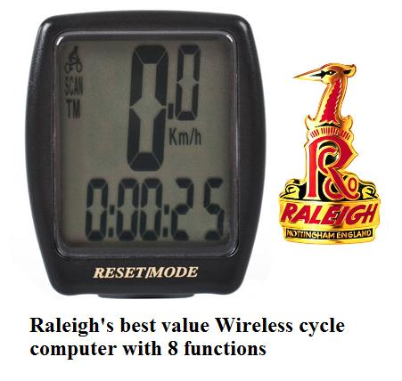 RALEIGH 8 FUNCTION WIRELESS CYCLE COMPUTER Enlarged Preview
