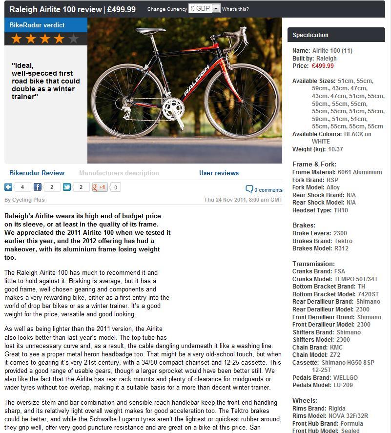 Raleigh Airlite 100 Black Red Mens Road Racing Bike 2012