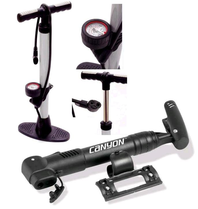 CYCLE BIKE BICYCLE TRACK PUMP FLOOR PUMP & FREE MINI PUMP BOTH DUAL HEAD FITTING Enlarged Preview
