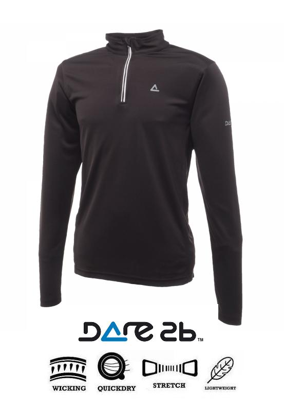 MENS DARE2B BLACK LONG SLEEVE THERMAL BASE LAYER ANTI BACTERIAL  Enlarged Preview