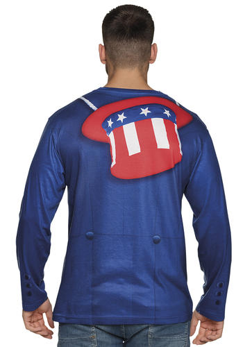 Uncle Sam Shirt Mens Fancy Dress American USA Army Military Adults Costume Top