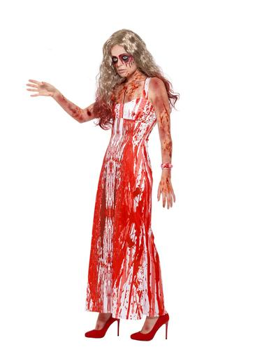 Bloody Prom Queen Ladies Fancy Dress Gory Carrie Halloween Adults Womens Costume
