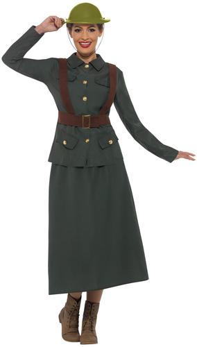 WW2 Army Warden Ladies Fancy Dress Military Uniform Womens Adults 1940s Costume