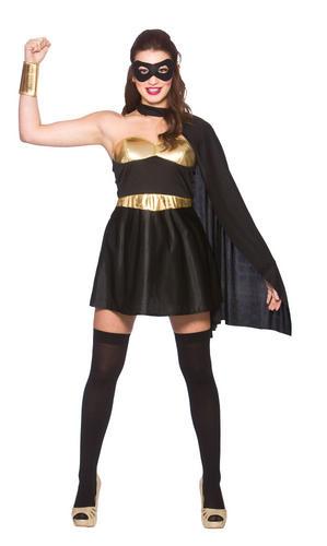 576ce3b30310d7 Ladies Black Hot Super Hero Costume Comic Womens Adult Superhero ...