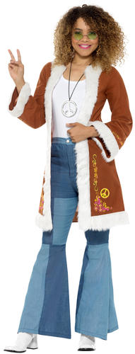 60s Retro Hippie Coats Ladies Fancy Dress 70s Peace Womens Adults Costume Jacket