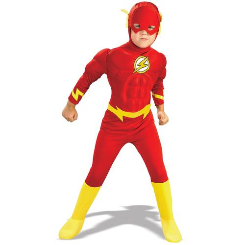 Flash Boys Fancy Dress Kids Comic Superhero Musle Chest Childs Costume Outfit