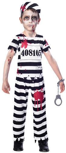 Zombie Convict Kids Fancy Dress Halloween Prisoner Uniform Boys Girls Costumes