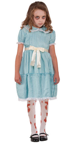Creepy Sister Girl Blood Stained Tights Halloween Fancy Dress Kids Costume